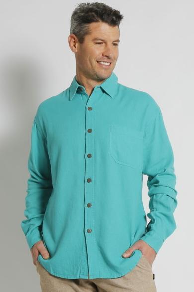Mens Hemp Rayon Relax Fit Long Sleeve Shirt-Sea Green