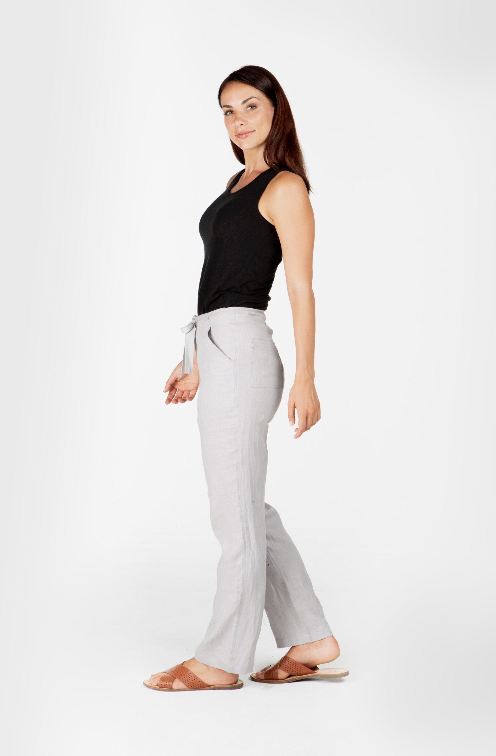 Ladies 100% Premium Hemp Drawstring Beach Pants - Light Grey