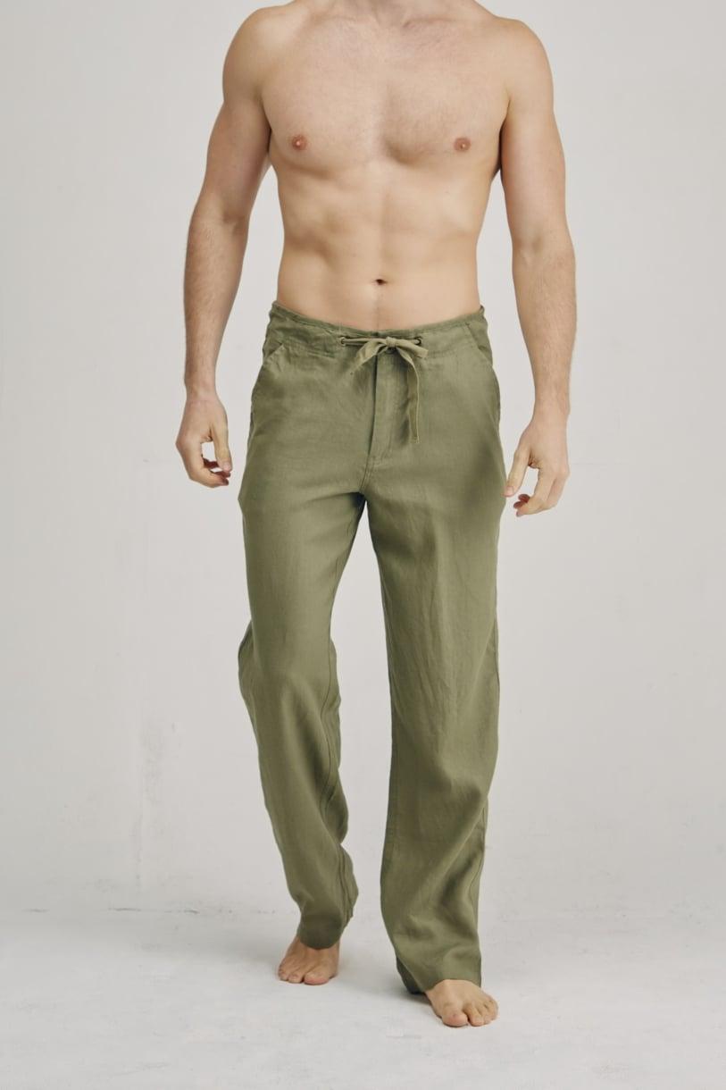 Men's 100% Premium Hemp Relaxing Beach Pants with Draw String-Khaki