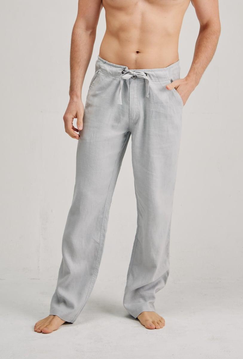 Men's 100% Premium Hemp Relaxing Beach Pants with Draw String-Light Grey