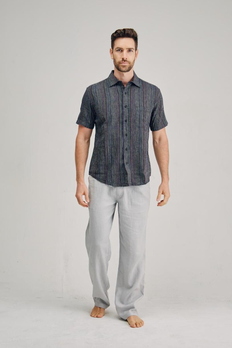 Men's Hemp blended Stripe Short Sleeve Shirt-Bone