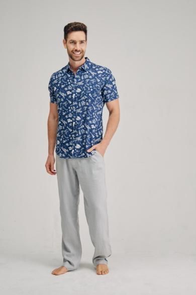 Men's Hemp Musical Short Sleeve Shirt-Blue